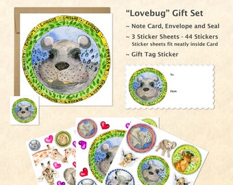 Cute Baby Animals Card and Stickers Gift Set, Cute Baby Hippo Card and Stickers, Cute Animal Stickers, Kids Gifts, Fun Gifts