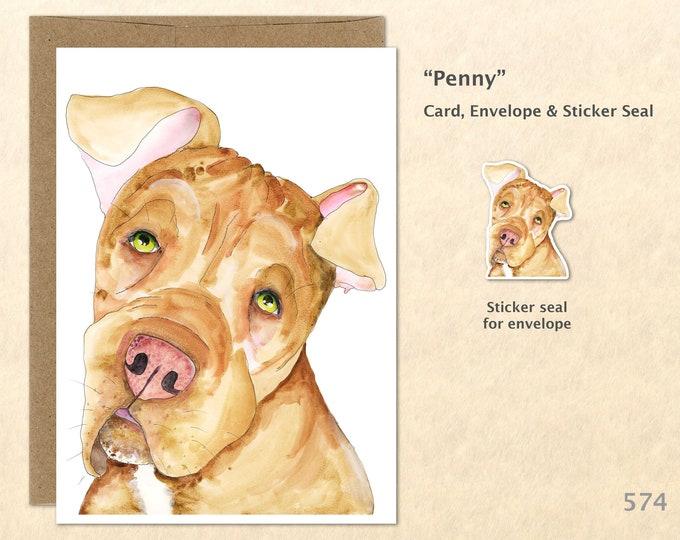 Dog Card Cute Dog Card Labrador Card Lab Pitt Mix Card Pitt Bull Card Fun Animal Blank Note Card Art Card Greeting Cards