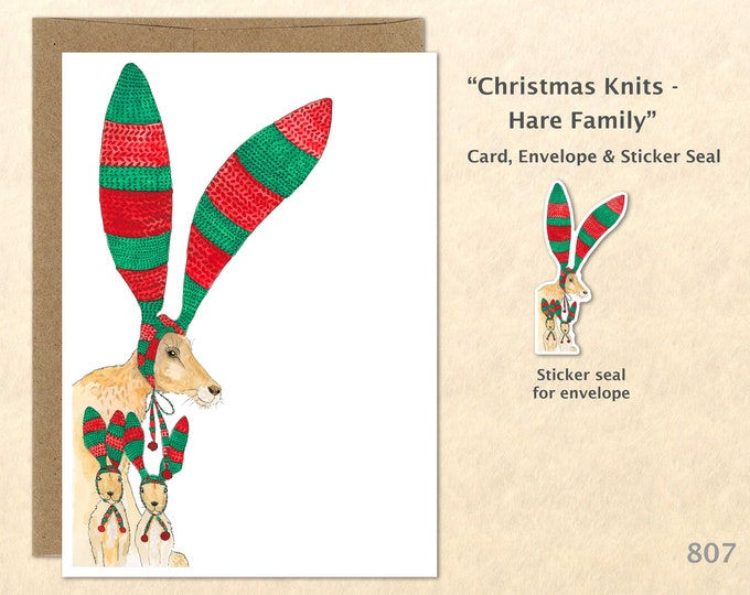 Christmas Card Rabbit Family Dressed for Christmas Holiday Note Card Blank Watercolor Card Art Card