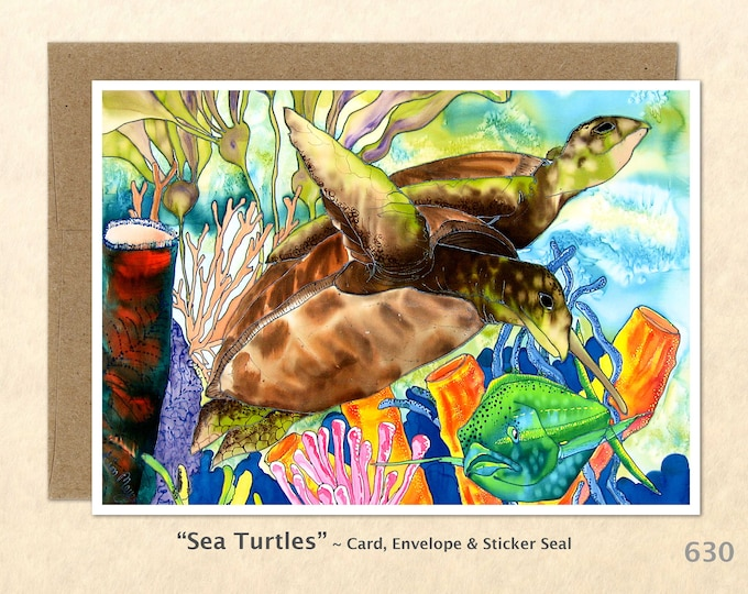 Sea Turtles, Coral and Fish Note Card, Turtle Cards, Blank Note Card, Art Cards, Greeting Cards