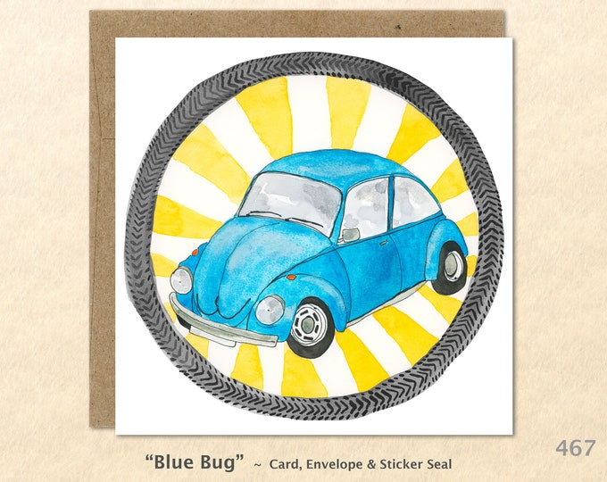 Blue VW Bug, VW Cards, VW Beetle Cards, Volkswagen Cards, Car Cards, Note Cards, Blank Note Cards, Art Cards, Greeting Cards