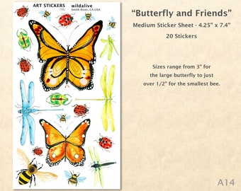 Butterfly Stickers Dragonfly Stickers Bee Sticker Ladybug Sticker Beetle Sticker Garden Sticker Gardening Sticker Insect Sticker Art Sticker