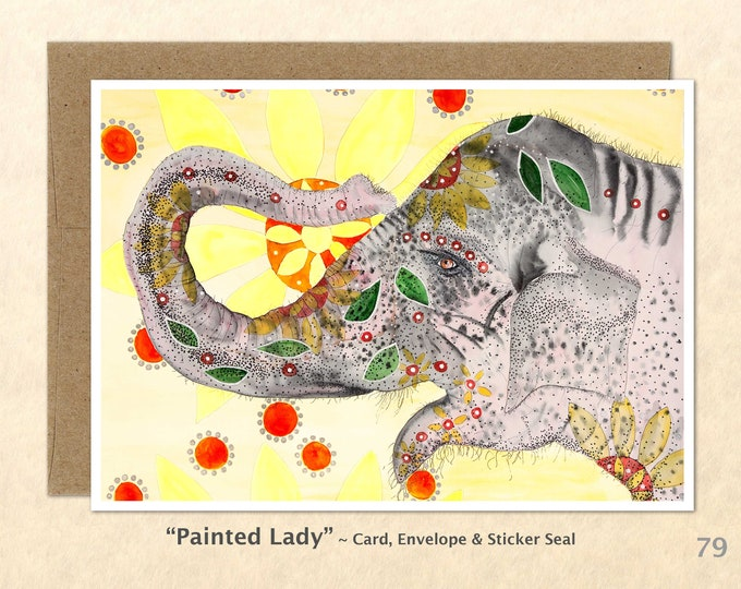 Painted Elephant Note Card, Elephant Cards, Blank Note Card, Art Cards, Greeting Cards