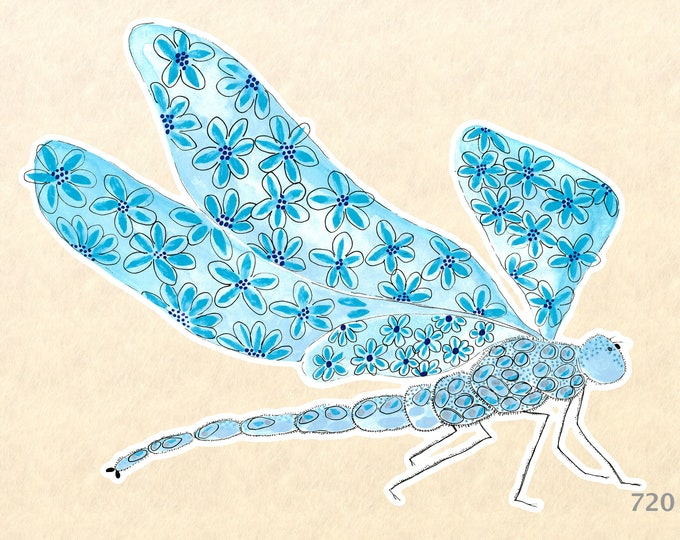 Dragonfly Sticker Garden Sticker Gardening Sticker Blue Dragonfly Decorative Sticker Water Bottle Sticker Scrapbook Sticker Macbook Decal