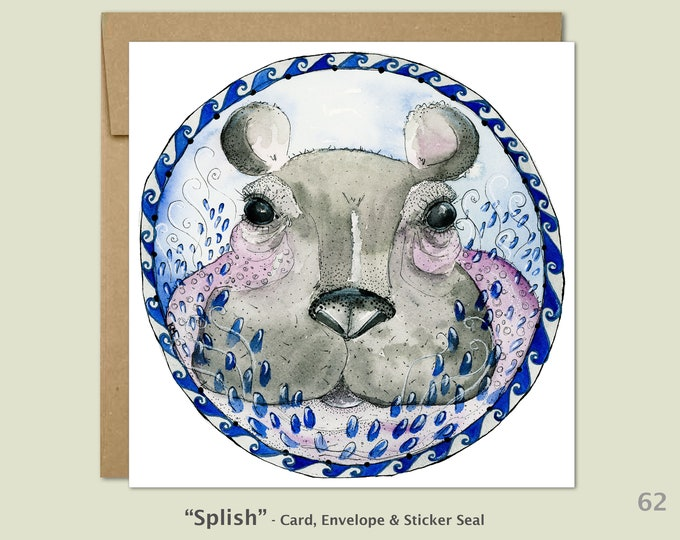 Baby Hippo Note Card, Cute Animal Babies, Baby Cards, Kids Cards, Fun Animal Cards, Blank Note Card, Art Cards, Greeting Cards