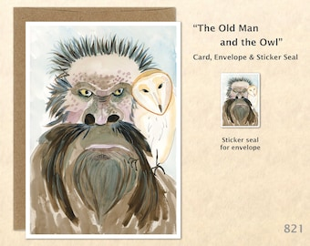 Wise Old Man and Owl Card Watercolor Art Blank Note Card Watercolor Art Greeting Card