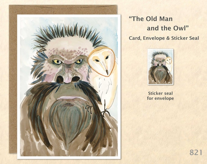 Old Man and Owl Card Wise Old Man Card Wise Owl Card Hermit Card Blank Note Card Art Card Greeting Cards