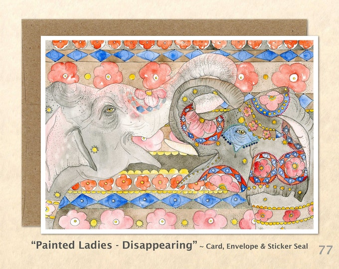 Painted Elephants Note Card, Blank Note Card, Art Cards, Greeting Cards