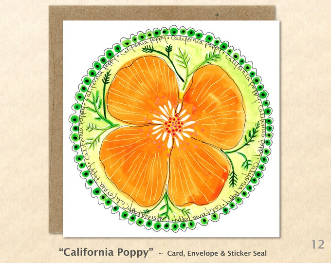 Floral Cards, California Poppy Cards, Flower Cards, Garden Cards, Gardening Cards, Blank Note Card, Art Cards, Greeting Cards