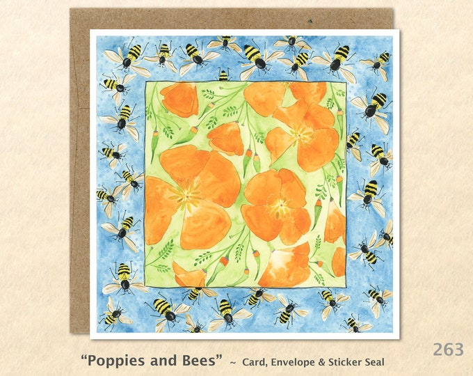 Poppies and Bees Note Card, Flower Cards, Floral Cards, Garden Cards, Blank Note Card, Art Cards, Greeting Cards