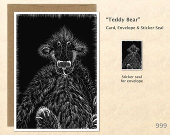 Teddy Bear Note Card from an Original Scratch Art Cute Animal Card Customizable Blank Note Card Card Greeting Card