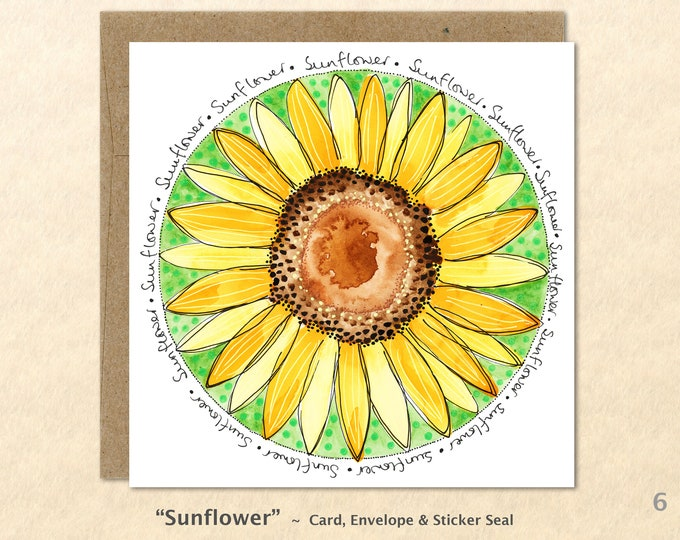 Sunflower Cards, Flower Cards, Floral Cards, Garden Cards, Gardening Cards, Blank Note Card, Art Cards, Greeting Cards