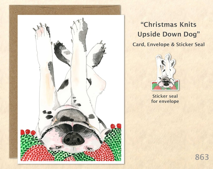 Christmas Card Dog Dressed for Christmas Holiday Note Card Blank Watercolor Card Art Card Cute Dog Card