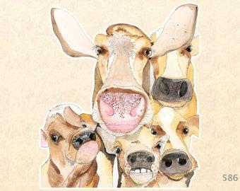 Curious Cows Sticker Farm Animal Sticker Watercolor Art Water Bottle iPhone Laptop Sticker Scrapbook Sticker Macbook Decal