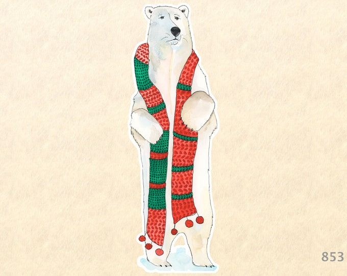 Polar Bear in a Christmas Scarf Sticker Gift Wrapping Sticker Laptop Stickers Water Bottle Stickers Scrapbook Stickers