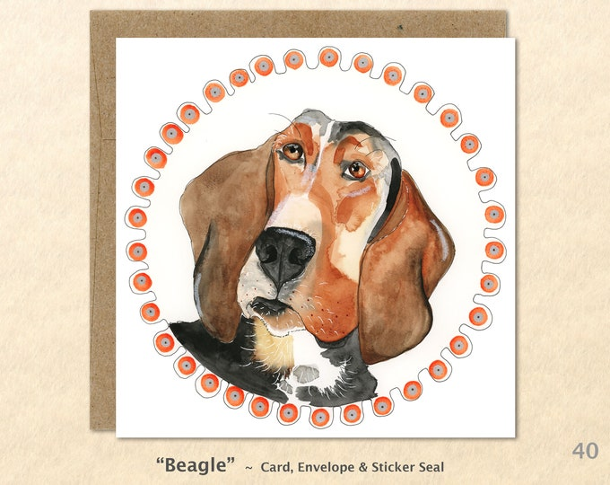 Beagle Card Dog Card Dog Greeting Cards Fun Dog Cards Blank Note Cards Art Cards, Square