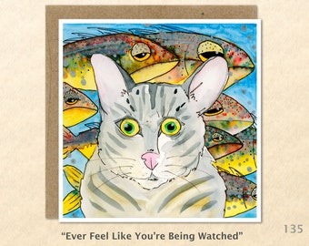 Tabby Cat and Fish Note Card, Cat Cards, Cute Cat Cards, Blank Note Card, Art Cards, Greeting Cards