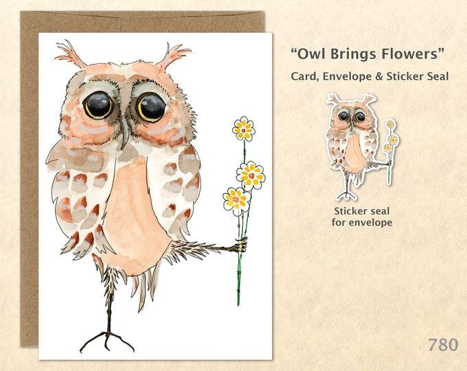 Owl and Flowers Note Card Owl Card Floral Card Flower Card Bird Card Cute Animal Card Blank Note Card Art Card Greeting Card
