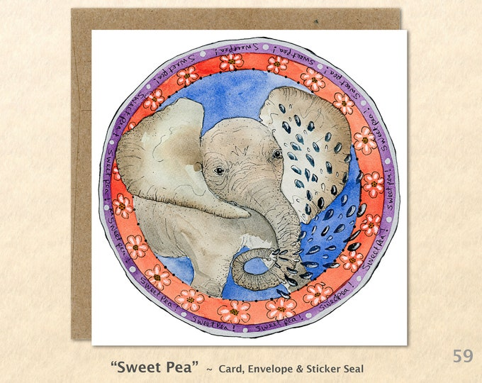 Baby Elephant Note Card, Animal Baby Cards, Cute Animal Babies, Elephant Baby Cards, Blank Note Card, Art Cards, Greeting Cards