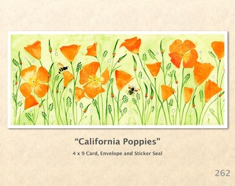 California Poppies and Bees Note Card, Floral Cards, Flower Cards, Poppy Cards, Garden Cards, Blank Note Card, Art Cards, Greeting Cards