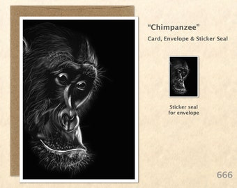 Chimpanzee Note Card from an Original Scratch Art Monkey Card Customizable Blank Note Card Card Greeting Card