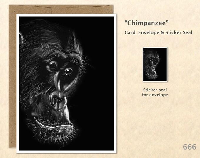 Chimpanzee Note Card from an Original Scratch Art Monkey Card Customizable Blank Note Card Card Greeting Card