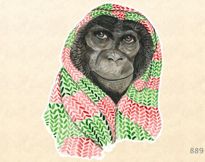 Chimp in a Christmas Head Scarf Sticker Gift Wrapping Sticker Laptop Stickers Water Bottle Stickers Scrapbook Stickers