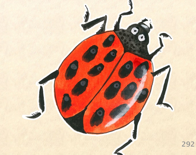 Ladybug Stickers, Garden Stickers, Decorative Stickers, Insect Stickers, Water Bottle Sticker, Scrapbooking Sticker, Macbook Decal
