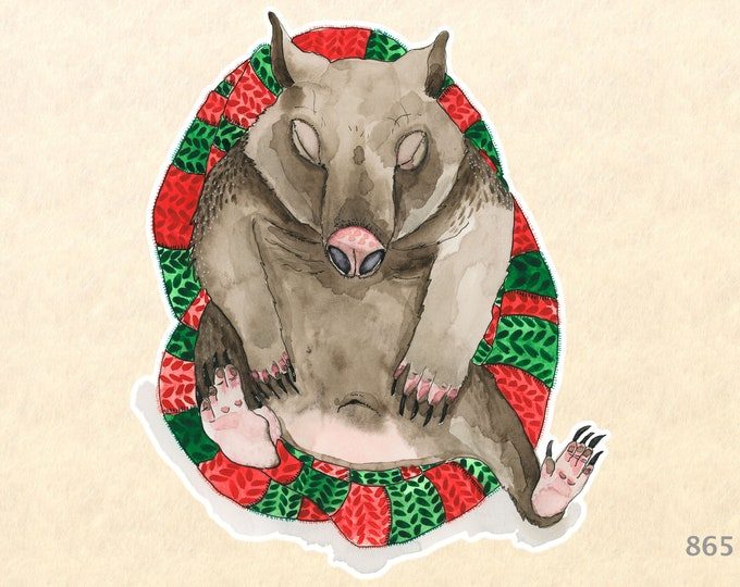 Sleeping Wombat on a Christmas Blanket Sticker Gift Wrapping Sticker Laptop Stickers Water Bottle Stickers Scrapbook Stickers