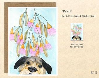 Dog and Flowers Card Cute Dog Card Fun Dog Card Floral Card Flower Card Customizable Blank Note Card Watercolor Art Card Greeting Card