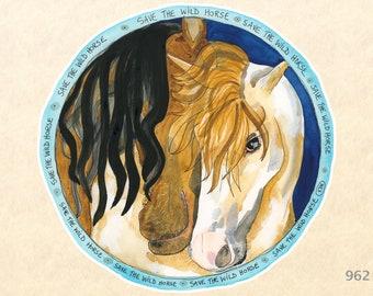 Save the Wild Horse Eco Sticker Water Bottle Sticker Scrapbooking Stickers Watercolor Art Sticker