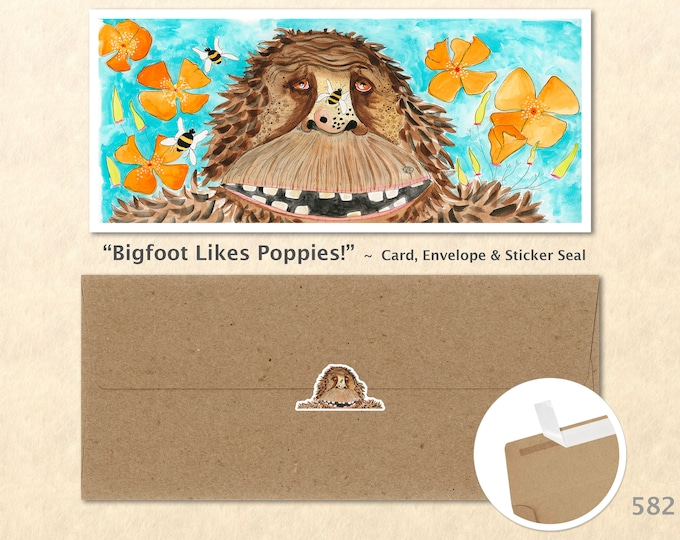 Bigfoot, Poppies and Bees Note Card, Bigfoot Cards, Bigfoot Note Cards, Blank Note Card, Art Cards, Greeting Cards