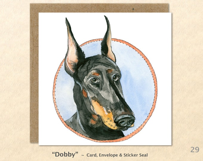 Doberman Cards,  Dog Cards, Dog Greeting Cards, Art cards, Blank Note Cards, Greeting Card, Watercolor Cards, Square
