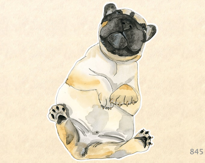 Pug Takes a Siesta! Sticker Dog Sticker Laptop Stickers Water Bottle Scrapbook Stickers Macbook Decal Watercolor Art Sticker