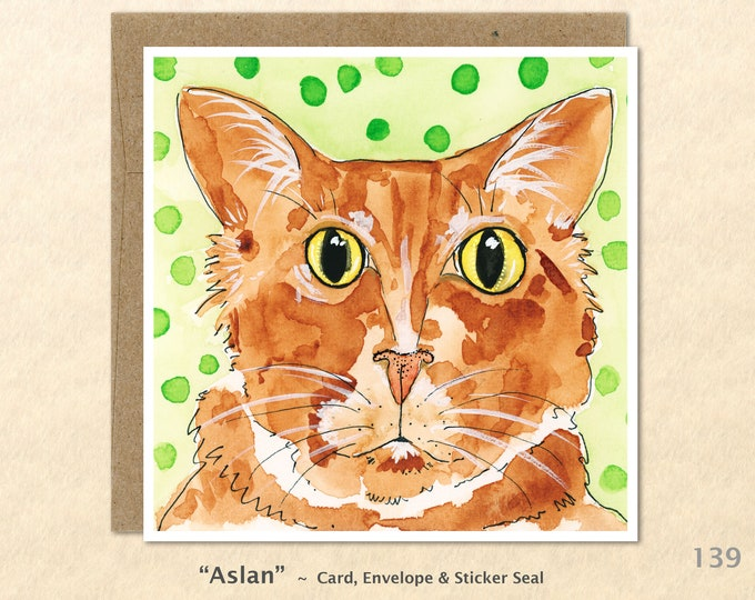Tabby Cat Note Card, Cat Cards, Cute Cat Cards, Blank Note Card, Art Cards, Greeting Cards