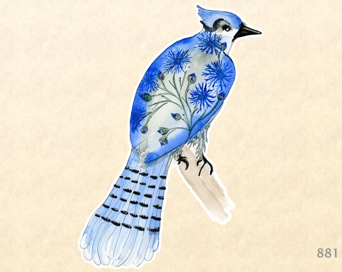 Flowered Steller's Jay Sticker Bluebird Sticker Floral Sticker Water Bottle Sticker Scrapbooking Sticker Macbook Decal Watercolor