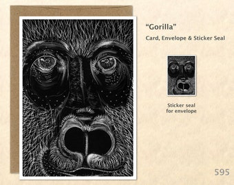 Gorilla Note Card from an Original Scratch Art Great Ape Card Customizable Blank Note Card Card Greeting Card
