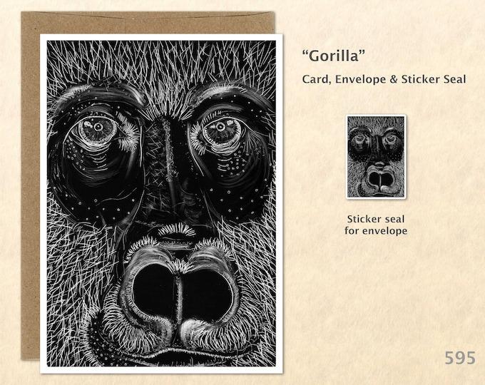 Gorilla Note Card from an Original Scratch Art Great Ape Card Customizable Blank Note Card Card Greeting Card
