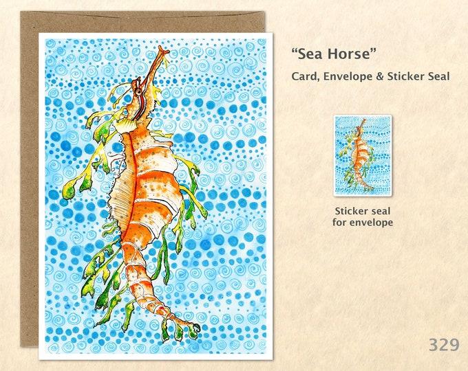 Sea Horse Note Card Beach Card Nautical Card Blank Note Card Art Card Greeting Card