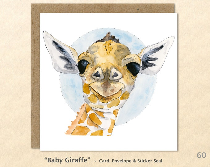 Baby Giraffe Note Card, Baby Animal Cards, Giraffe Cards, Cute Animal Cards, Baby Gift, Blank Note Card, Art Cards, Greeting Cards