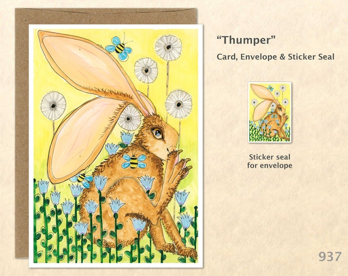 Rabbit Flowers and Bees Note Card Easter Card Bunny Card Hare Customizable Blank Note Card Cute Cards Watercolor Art Card Greeting Card