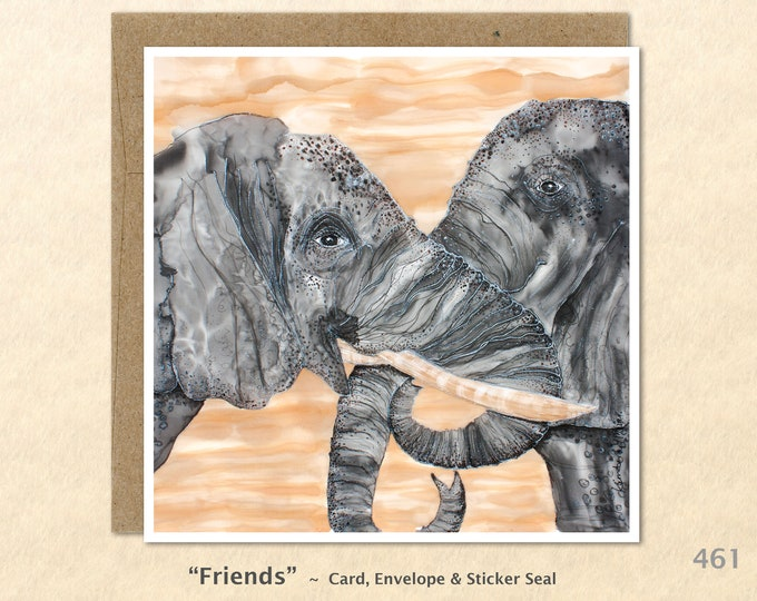 Elephant Friends Note Card, Friendship, Blank Note Card, Art Cards, Greeting Cards