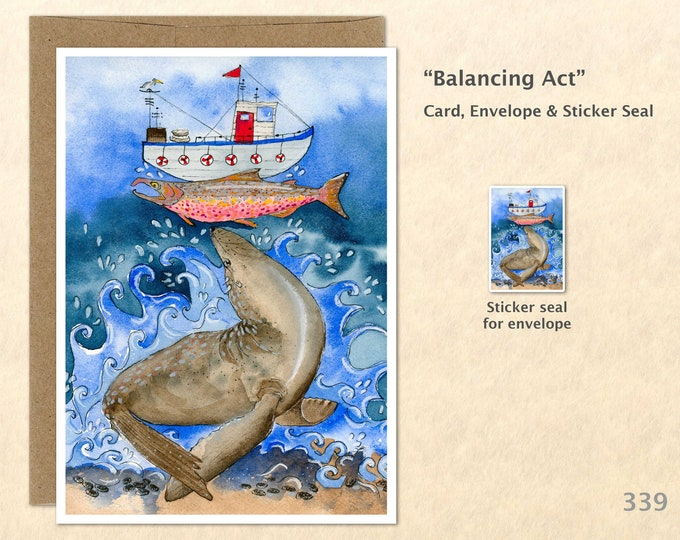 Sea Lion, Fish and Boat Note Card, Blank Note Card, Art Cards, Greeting Cards