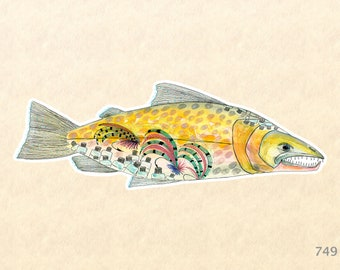 Fish Sticker Salmon Sticker Eco Sticker Stylized Fish Sticker Sea Life Sticker Laptop Sticker Water Bottle Sticker Scrapbook Sticker