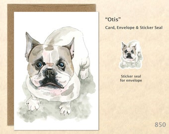 Bulldog Note Card Dog Cards Cute Dog Cards Blank Note Card Art Cards Greeting Cards Watercolor Cards