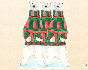 3 Polar Bears Dressed for Christmas Gift Wrapping Sticker Laptop Stickers Water Bottle Stickers Scrapbook Stickers Watercolor Art