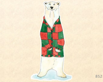 Polar Bear in a Christmas Cardiagan Sticker Gift Wrapping Sticker Laptop Stickers Water Bottle Stickers Scrapbook Stickers