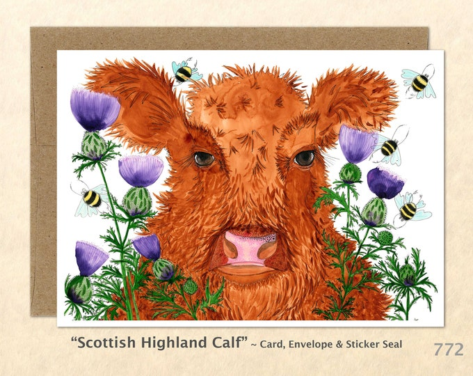 Cow Card Calf Card Scottish Highland Calf Highland Cattle Farm Animal Card Cute Farm Animals Cute Cows Blank Note Card Greeting Card