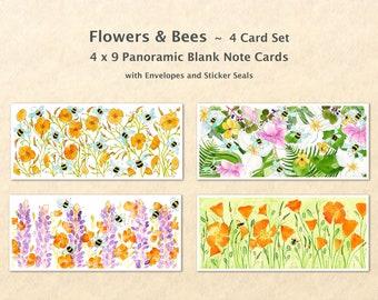 4 Floral Cards Set, Flower Cards, Bee Cards, Garden Cards, Gardening Cards, Art Cards