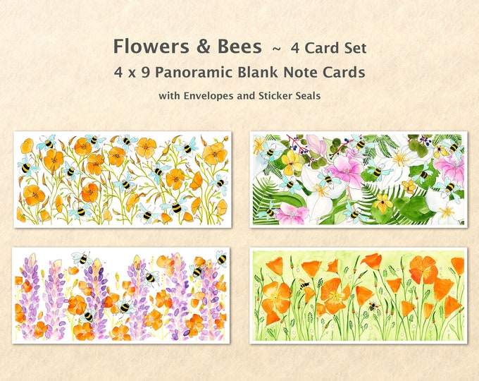4 Floral Cards Set, Flower Cards, Bee Cards, Garden Cards, Gardening Cards, Art Cards